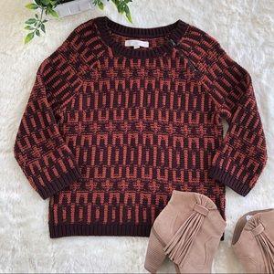 LOFT brown/orange sweater with zipper small